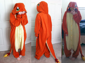 pajamas charmander kigurumi onesie pokemon indigoleague fire