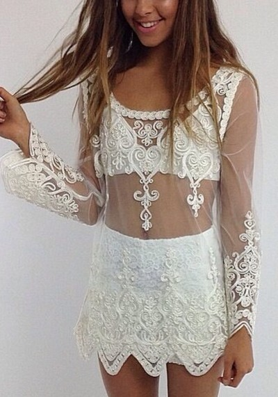 """'florida summer"""" long sleeve embroided sheer top · ebony lace fashion boutique · online store powered by storenvy"""