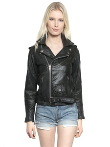 Recycled soft leather biker jacket