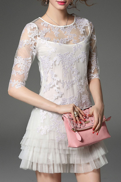 Dress Lace White Tulle Dress Classy Elegant Feminine Dezzal Romantic Fashion Style