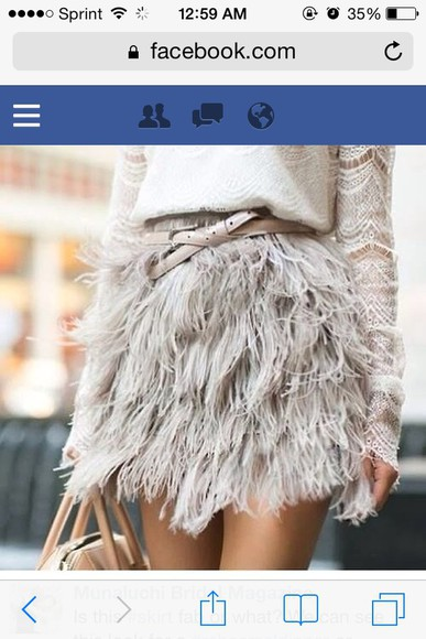 feathers ruffle skirt skirt grey lace Belt
