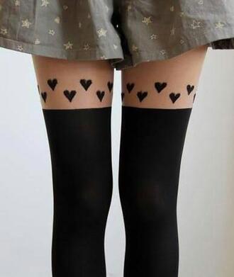 underwear hearts tights leggings black hearts