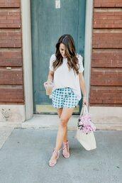 shorts,tumblr,gingham,t-shirt,white t-shirt,sandals,sandal heels,high heel sandals,bag,shoes