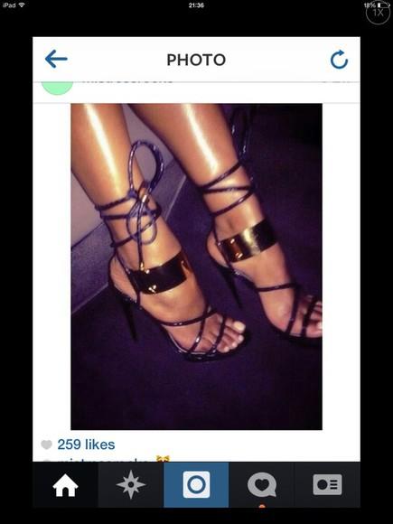 high heels gold straps black heels sandals gold plated stilettos strappy black heels lace up heels celebrity style fashion trend