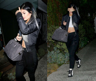 jacket kylie jenner pants sweatpants top bag shoes givenchy givenchy bag handbag snake print grey bag bomber jacket outfit made black coat fall outfits coat