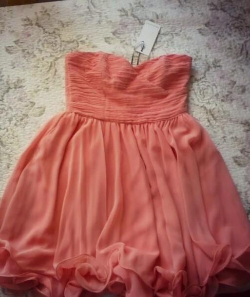 Dress: cute, strapless dress, chiffon, lovely, bandeau ...