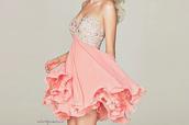 dress,pink dress,peach dress,prom dress,cute,girl,glitter dress,glitter,bag