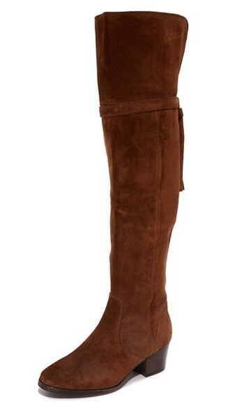 wood tassel over the knee boots shoes
