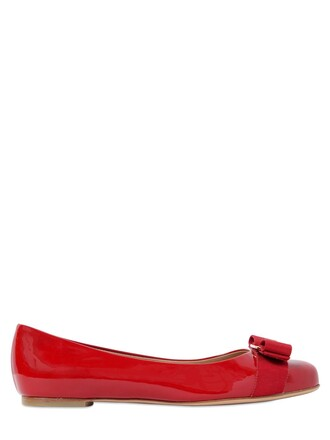flats leather red shoes