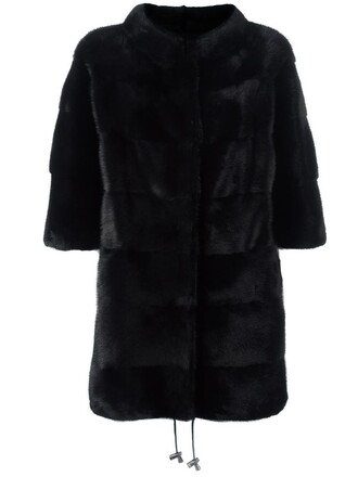 coat cropped fur women black