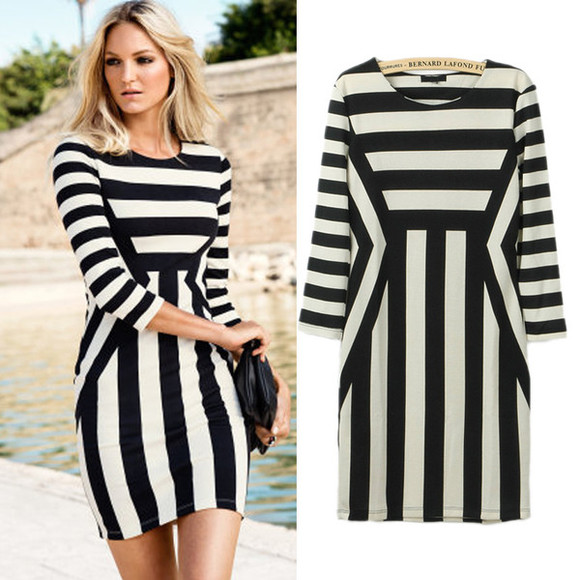 dress bodycon black white fashion skater dress mini dress stripes striped dress cuteg irly monochrome black and white blakc & white black and white dress