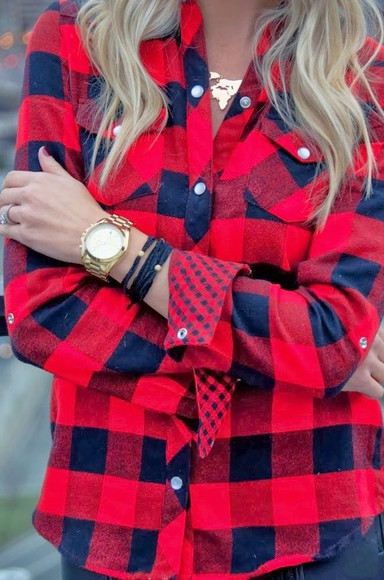 blouse red plaid flannel flannel shirt black plaid shirt red and black watch gold navy polka dots