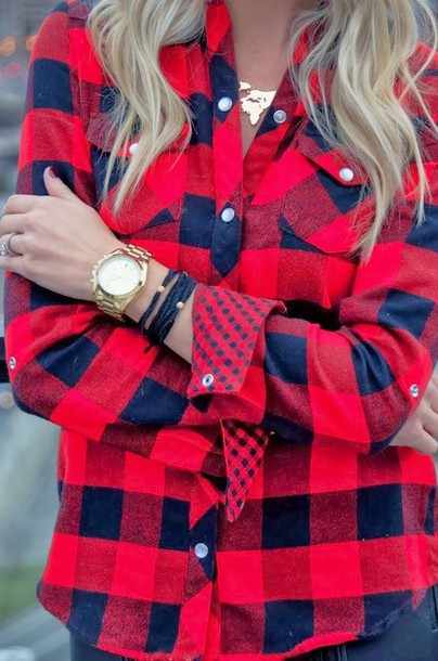 Blouse flannel red navy polka dots shirt jewels for Black watch plaid flannel shirt