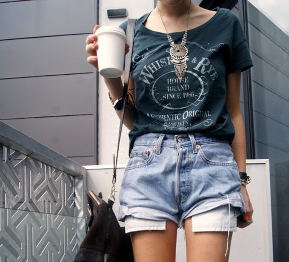denim cutoffs shorts light wash mom jean cutoffs shirt High waisted shorts vintage blouse t-shirt tumblr clothes tumblr girl grey, fluffy, cool, cute, 90s, goth, pastel goth, awesome jeans graphic tee graphic t-shirt whiskey and rye jack daniels shirt green