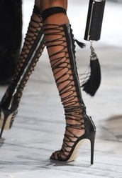 shoes,black,lace up,over the knee boots,summer,strappy black heels,knee high heels,black heels,thigh highs,thigh high boots