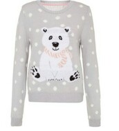 blouse,sweater,shirt,jewels,hat,scarf,shoes,polar bear sweater