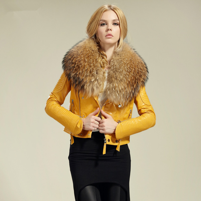 2013 Fashion women's geniune leather jacket leather coat genuine leather jacket with fur collar-in Leather & Suede from Apparel & Accessories on Aliexpress.com