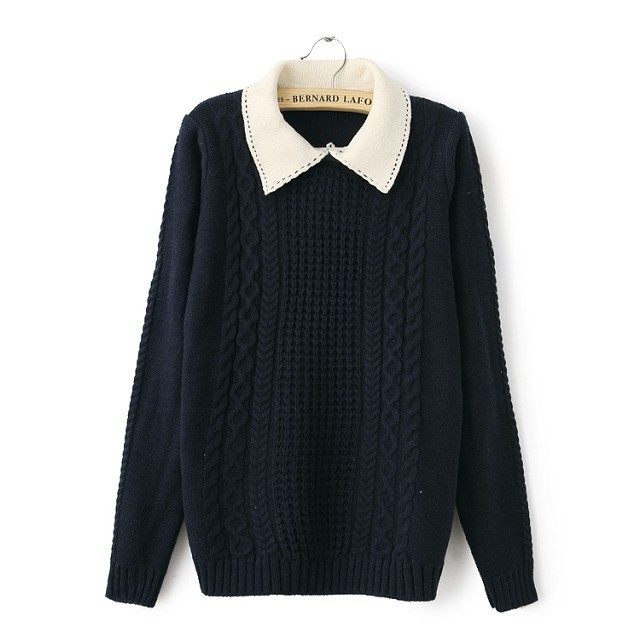 Sweet doll collar long sleeve loose knit sweater