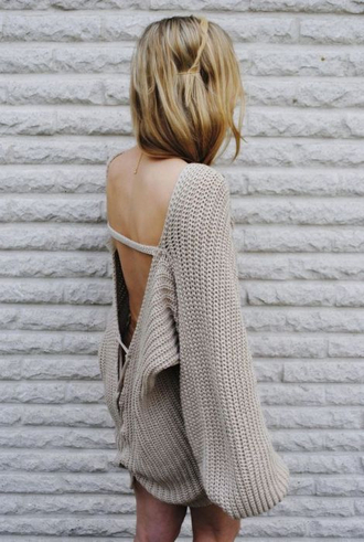 sweater open back scoop back knit shirt blouse knitted sweater slouchy big oversized tan cream backless beige long sleeves cozy cute clothes earth tone huge beautiful pull dress winter sweater cardigan sweater dress oversized sweater backless dress winter swag knitted dress v neck jumper backless sweater grey natural cable knit wool baggy