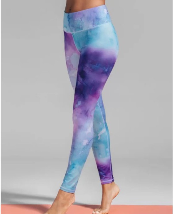 leggings girly blue colorful high waisted tights yoga pants