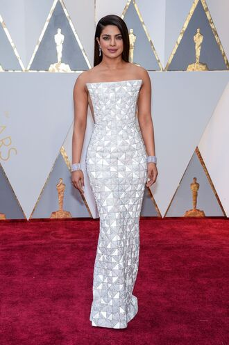 dress oscars 2017 priyanka chopra gown maxi dress prom dress bustier bustier dress strapless strapless dress red carpet dress oscars