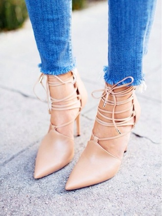 shoes peach lace up heels heels high end fashion streetstyle girly elegant heels nude sandals