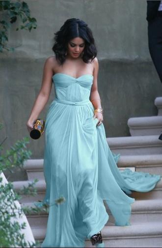 dress gown flowy pastel mint dress prom dress vannessa hudgens ball gown