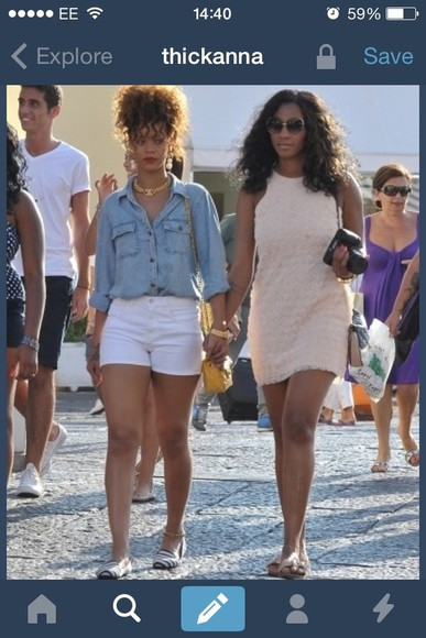 rihanna shirt denim blue shirt jewels