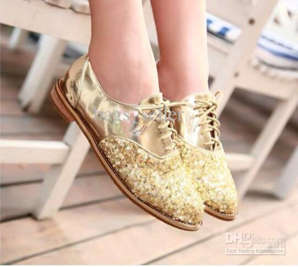 golden shoes sparkle suede suede ballet flats