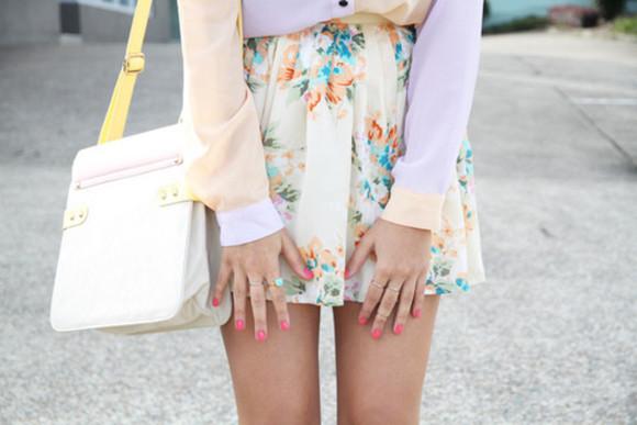 skirt short skirt floral cute skirts baby pink cute skirt pastel lovely girly skirt pastel color skirt floral skirt floral dress cream cream skirt pastel skirt girly light orange light purple light color light color skirt colorful blouse