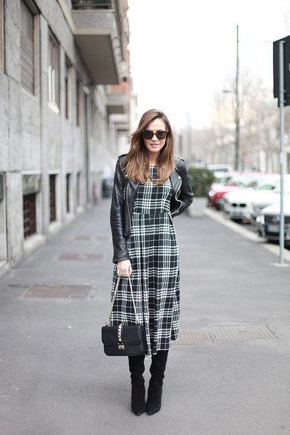 lady addict blogger tartan midi dress leather jacket black boots
