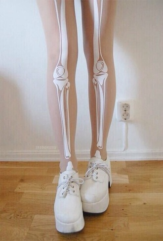 leggings tights translucent skull bones legs white