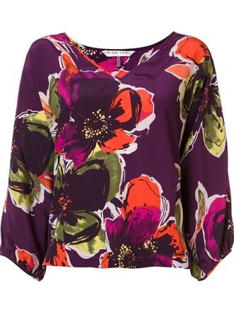 blouse women floral silk purple pink pattern top