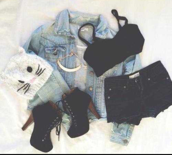 hat beanie top shorts denim jacket cat beanie necklace pumps high heels black tank top shoes cats
