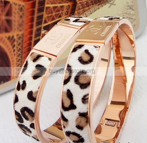 Cheap chanel cuff bracelets rose gold leopard leather bracelet titanium steel sale