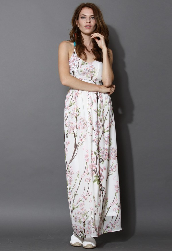 chicwish blooming sakura open back maxi dress