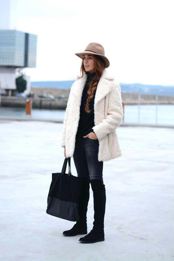 5a741d6771712 hat jeans fuzzy coat tote bag coat shoes bag white fluffy coat fluffy  sweater black sweater.