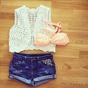 shorts,studs,studded denim shorts,blue jean shorts,jacket,swimwear,top