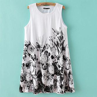top tunic mini beach black & white
