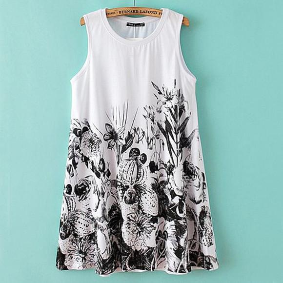 top mini tunic beach black & white