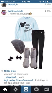 sweater,blue,never stop dreaming,pants,beanie,boots,mickey mouse,shoes,mickeymouse sweater,baby blue,hat,cute sweaters,blue sweater,mickey mouse sweater,dream,winter outfits,pajamas,make-up,outfit,disney,hair accessory,shirt,disney sweater,leggings,jeans,underwear,light blue,black,black jeans,furry boots,where can i get this outfitt