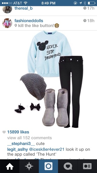 sweater blue never stop dreaming pants beanie boots mickey mouse shoes mickeymouse sweater baby blue hat cute sweaters blue sweater mickey mouse sweater dream winter outfits pajamas make-up outfit disney hair accessory shirt disney sweater leggings jeans underwear light blue black black jeans furry boots where can i get this outfitt