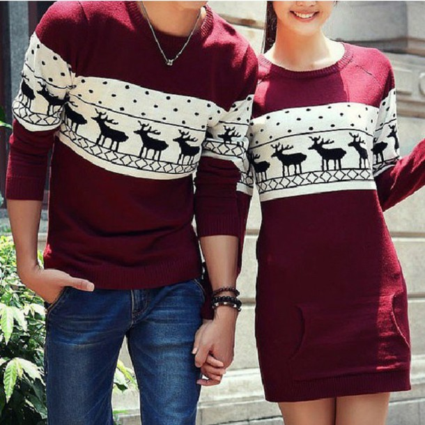 blouse couple sweaters dress t shirt dress matching couples sweater burgundy sweater winter sweater elf bag red wool christa drees and sweater