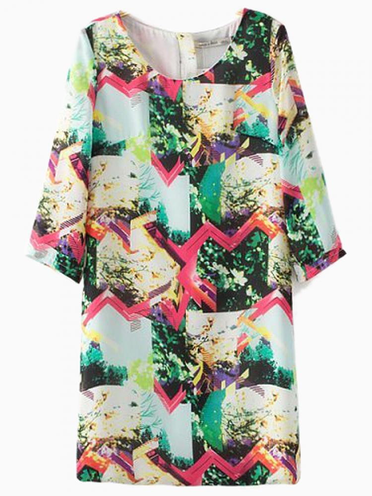 Multi Color Print Shift Dress | Choies