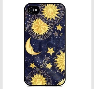 phone cover dark witching hour witchcraft symbols moon sun stars jacket grunge punk moon and sun fashion style iphone case stars trendy blue yellow teenagers cool