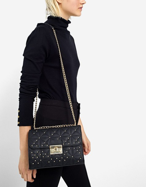 studs quilted bag crossbody bag black