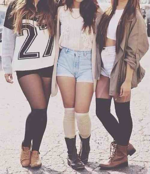 top jersey long sleeves sweater shorts black white brown leather boots knee high socks jacket