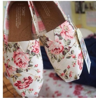 shoes toms floral pastel roses