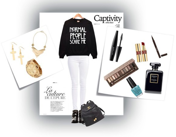 jumper bag chanel bag white jeans Jewlery polyvore clothes jewels make-up
