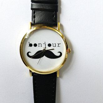jewels moustache freeforme watch bonjour style freeforme watch leather watch womens watch mens watch unisex